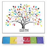 Funny DIY Guest Signature Sign-in Fingerprints Tree Painting Canvas for Wedding Birthday Party with Ink Pads Set