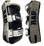 RAD MMA Strike Arm Shield Curved Training Thai Pad Kick Focus Target Boxing Punching Mitts Senior , Junior (Single Item) (white & black, junior)