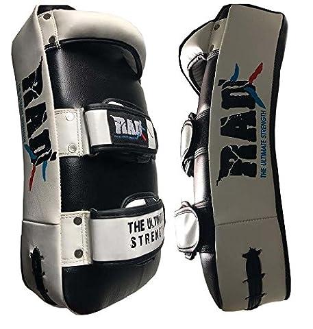 Rad MMA Strike Bras Shield courbe d'entraînement Thai Pad Kick mise au point Cible de boxe Mitaines Senior, Junior (Un seul Article), blanc/noir, Junior