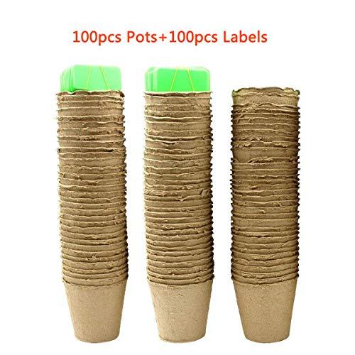Ulable 8cm Plante Pots de fleurs Pot de Semis Pépinières Fleur Plante Conteneur des avec étiquettes -100% biodégradable, organique et écologique (paquet de 100)