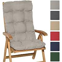 Beautissu Matelas Coussin pour chaise fauteuil de jardin terrasse Flair HL 120x50x8cm - Dossier haut - Gris clair