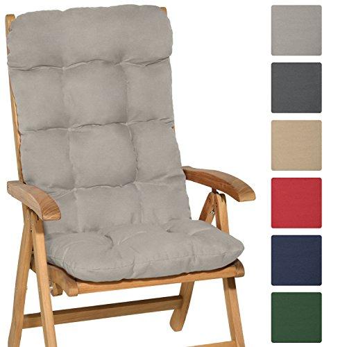 Beautissu® Hochlehner Auflage Flair HL 120x50x8cm Sitzkissen Rückenkissen Sitzpolster Schaumflockenfüllung Hell-Grau