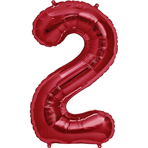 Number 2 - Red Helium Foil Balloon - 34 inch by Northstar Balloons