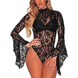 FreestyleMo Femmes Dentelle Bodys Tops Manches Longues Combinaison Bodysuit (L, Noir)