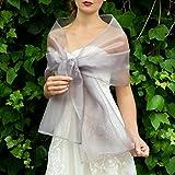 Stole donna organza scialli vestito da sposa nuziale poncho argento grigio