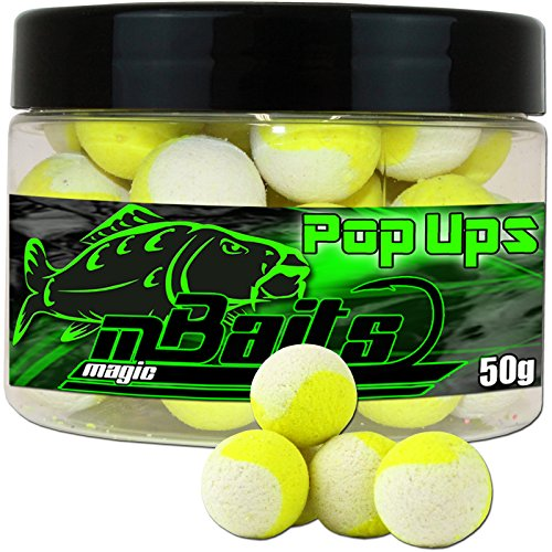 Angel-Berger Magic Baits Fluo Two Tone Pop Ups Boilies (White-Yellow, 15mm)