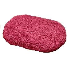 Rollsnownow Tapis de bain de salle de bains de salle de bain de vin matériel de coton rouge ovale doux et sûr et durable facile à nettoyer sans saveur 80 * 50cm pad de pédale absorbant WC salle de bain douche mat tapis accessoires de salle de bain