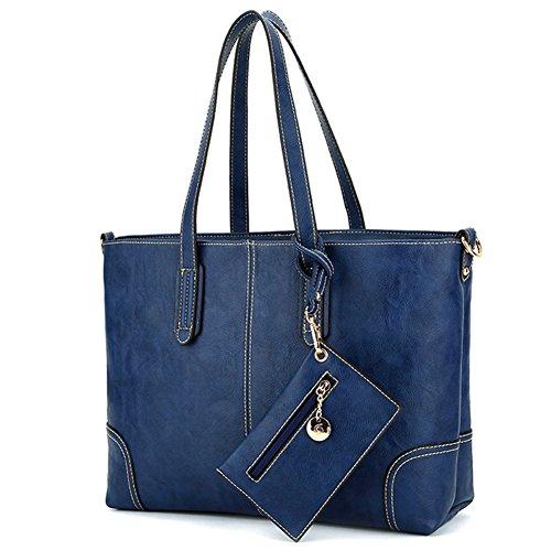 fanhappygo Fashion Retro Leder Damen Spiraea shopper bag Schulterbeutel Umhängetaschen Abendtaschen blau