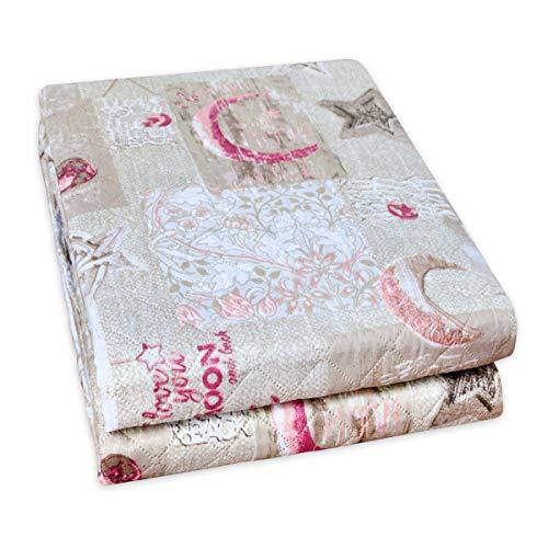 Emmevi trapunta trapuntino irge matrimoniale o singolo vari colori cuori coperta copriletto made in italy mod.trapunta moon beige 1 piazza