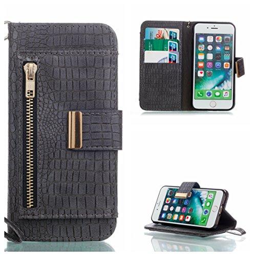 Coque iPhone 7, iPhone 8 Coque, Voguecase Housse en PU Cuir avec Support Fonction Étui de Protection Magnétique avec Porte-cartes pour Apple iPhone 7/iPhone 8 4.7 (Crocodile grain II-Bleu) + Gratuit s Crocodile grain II-Gris foncé