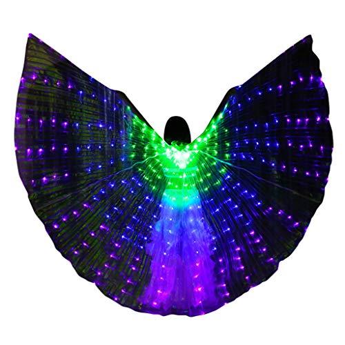 Kapian Bauchtanz LED Flügel Mit Stöcke Stangen Bauchtänzerin Halloween spaß Darstellende Künste,Einschließlich - Womans Bauchtänzerin Kostüm