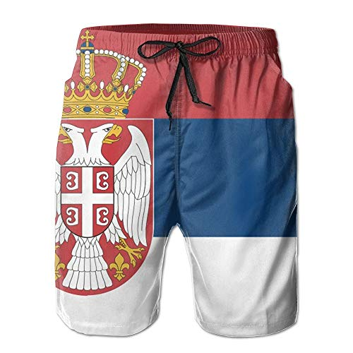 Serbian Flag Casual Cool 3D Print Relaxed Men Summer Surfing Quick-Drying Swim Trunks Beach Shorts Beach Pants with Pocket XXL (Short Sleeve Swim Cover Up)