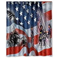 Personalized Fire Department And USMC Design Custom 100% Polyester Waterproof Shower Curtain 60 x 72