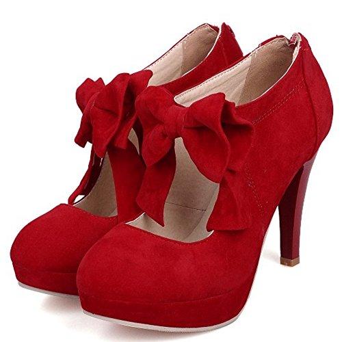 TAOFFEN Femmes Escarpins Soiree Occidental Talons Hauts Plateforme Fermeture Eclair Chaussures De Bowknot Rouge