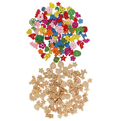 Gazechimp 200 Piezas Botones de Madera Diseño de Animal Flor de 2 Agujero para Decoración de Costura