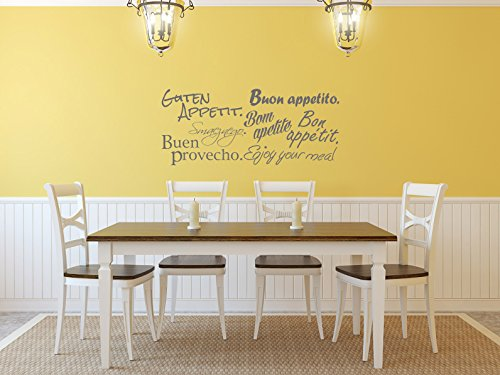 Comedy Wall Art Guten Appetit - Verschiedene Sprachen - Grau - ca. 70 x 30 cm (Sprachen Weltkarte)