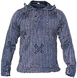 Little Kathmandu - Camiseta de manga larga y capucha para hombre, de algodón, lavado a la piedra morado morado Medium