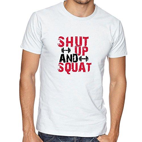 Shut Up And Squat Workout Motivation Design Sport Become Better Men Herren White T-shirt
