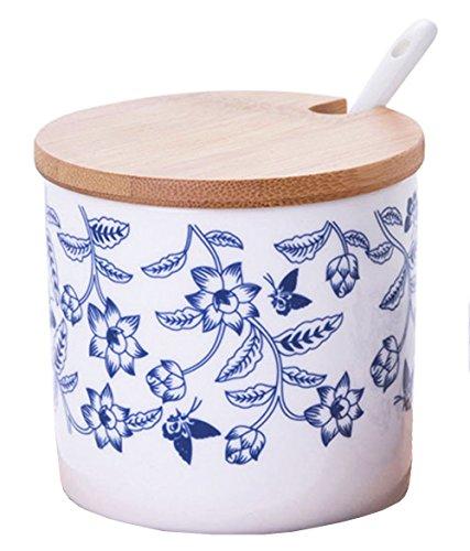 Céramics Bocal à huile avec couvercle et cuillère en porcelaine Bleu/blanc free 1pcs