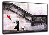 ARTSPRINTS Banksy Mädchen Hoffnung auf Leinwand/Foto- / Heimdekoration, 24'' x 20''inch(60x 50 cm) - 18mm Depth