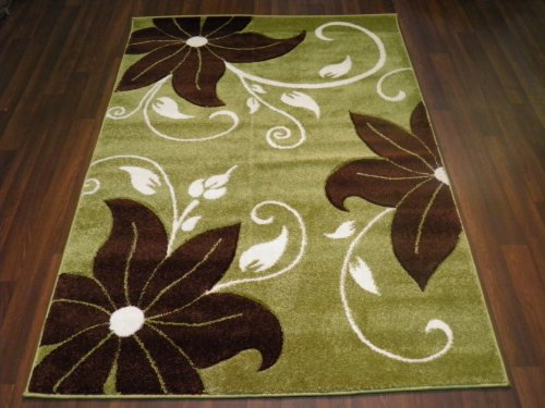 Verona Lily Green/Brown 120x170 Hand Carved Top Quality Approx 6X4 Top Quality Rugs