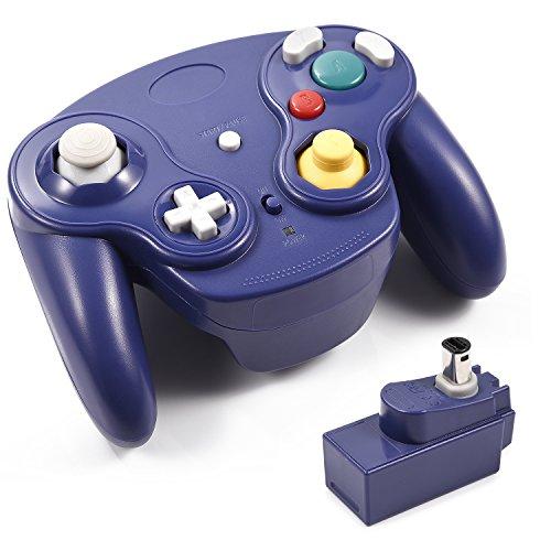 Für Nintendo GameCube Controller, innext 2,4GHz Wavebird Stil Wireless Gamecube GC Controller Gamepad Joystick w/Empfänger-Adapter für klassische Nintendo GameCube GC NGC Wii Video Game Konsole (blau) -