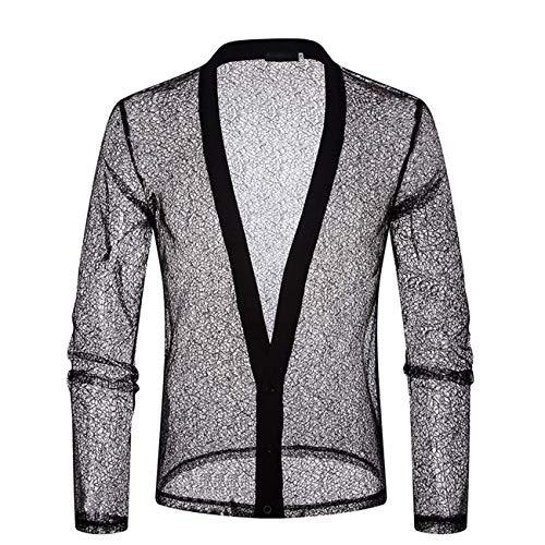 Herren Lange Ärmel Personalisiert Freizeit und Mode Shirt(XL,Schwarz)