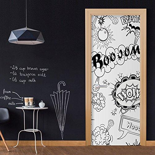 murando - Türtapete selbstklebend 90x210 cm - Vliesleinwand - Fototapete - Tapete - Türpanel - Türposter - Türaufkleber - Türsticker – Tür Dekoration - Foto Bild Design Comic schwarz weiß/grau i-B-0028-a-c