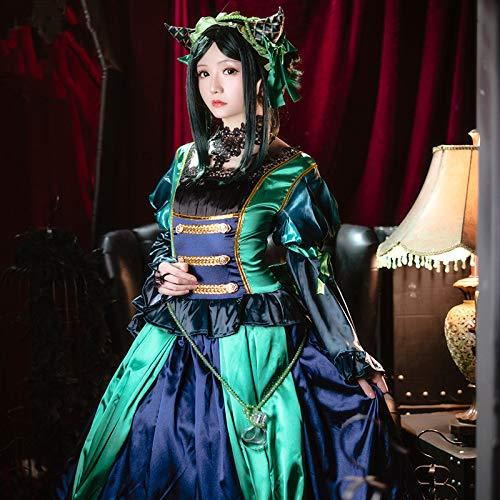 DuHLi Schwarz Butler Anime Cosplay ciel Phantomhive cos Halloween Party cos grüne Hexe Lolita Dress hohe qualität Vintage kostüm,S (Ciel Phantomhive Kostüm)
