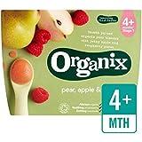 Organix Fruits Bio Purée - Poire, Pomme Et Framboise 4 X 100G - Paquet de 6
