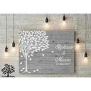 70x50 cm, Gästebuch, Hochzeitsbaum, Wedding Tree, Alternative Rustikales Gästebuch, Leinwanddruck - Baum, Leinwand, Keilrahmen und Holz Motiv