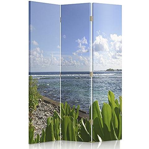 Feeby Frames Biombo impreso sobre lona, tabique decorativo para habitaciones, a doble cara, de 3 piezas, 360° (110x180 cm), COSTA DEL MAR MEDITERRÁNEO, PLAYA, PLANTAS, AZUL,
