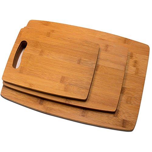 RSW24 Premium Schneidebretter Set 3 Größen aus Bambus, L: 38 x 28 cm, M: 32 x 21 cm, S: 24 x 18 cm, Brettchen fürs Frühstück in modernem Design pflegeleicht und messerschonend