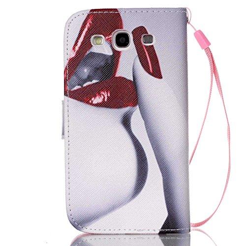Meet de Samsung Galaxy S3 i9300 i9305 Bookstyle Étui Housse étui coque Case Cover smart flip cuir Case à rabat pour Galaxy S3 i9300 i9305 Coque de protection Portefeuille - this iphone is locked slide lèvres doigt