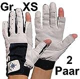 2 Paar BluePort Damen Herren Segelhandschuhe Gr. XS / 6 aus Leder - 2 Finger frei