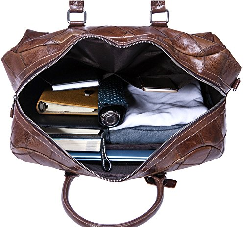WOMJIA Reisetsache Sporttasche Weekender Tasche Handgepäck aus Authentisches Leder Vintage 30 Liter (Schwarz) Schwarz