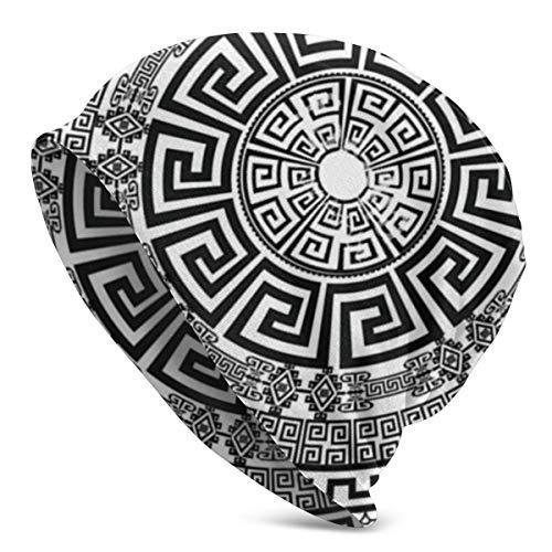 Nicegift Antike runde Verzierung isoliert schwarz Stricken Beanie Mütze Mütze Wintermützen Hüte gefesselt Plain Skull Cap für Männer Frauen -