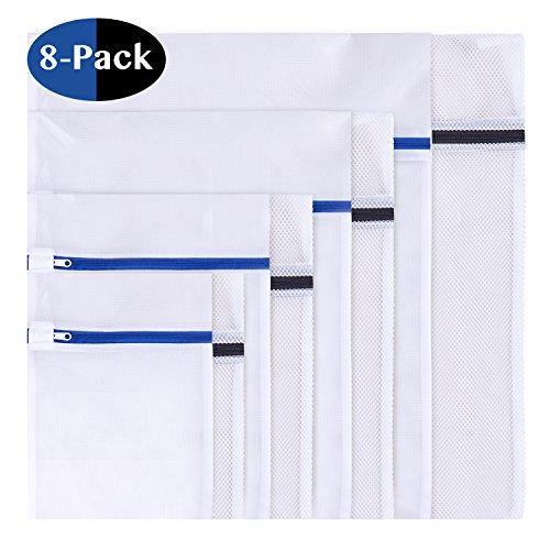 8 Stück Wäschenetz, Wäschesack Wäschetasche Set Waschbeutel für empfindliches, Bluse, Strumpfwaren, BH, Unterwäsche, Socken (feinmaschig & grobmaschig) mit Reißverschluss (8 set) (Bh Trockner)