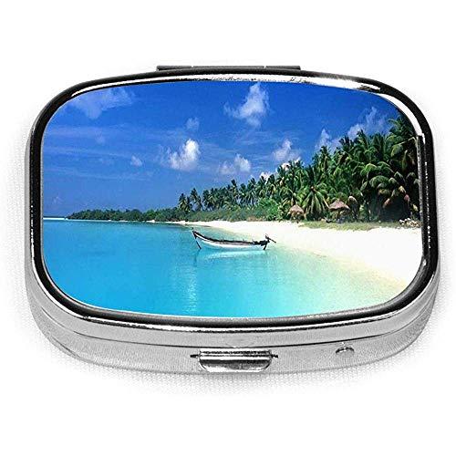 Quadratische Pillenhülle mit 2 Fächern Kleine Pillenhülle Tragbar Für Taschengeldbeutel Reisepillen Box Blauer Sommerhimmel Strandboot