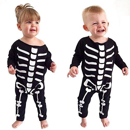 Für Trikot Kostüm Jungen (Cystyle Kind Baby Mädchen Jungen Lange Ärmel Halloween Knochen Overall Weihnachten Romper Outifts (80/Körpergröße)