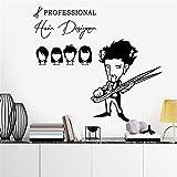 stickers muraux chambre sticker mural Coiffeur coiffeur sexe fille dame salon de coiffure nom coupe de cheveux coiffure boutique de vitrine pour salon de coiffure...