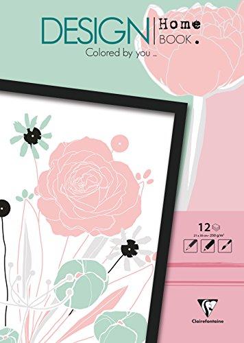 Clairefontaine Malbücher verleimt für Erwachsene: Design Home Book 13x17cm Blumen: Malbuch für Erwachsene