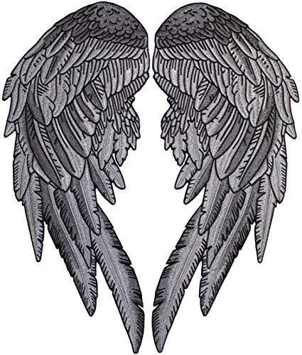 Aufnäher mit Engelsflügeln, bestickt, Größe XL, Schwarz/Dunkelgrau/Silberfarben, 2 Stück Set - von Nixon Thread Co. (14,5 Zoll) (Harley-davidson-namen)