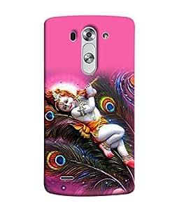 PrintVisa Designer Back Case Cover for LG G3 S :: LG G3 S Duos :: LG G3 Beat Dual :: LG D722K :: LG G3 Vigor :: LG D722 D725 D728 D724 (Religious Bhagwan Krishna In Sleeping Position Spritual)
