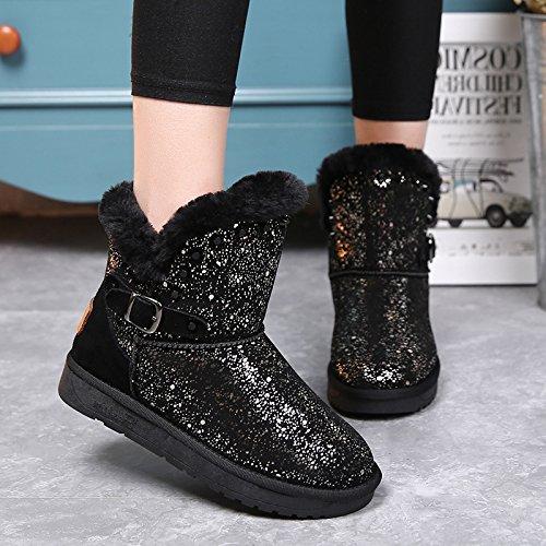 NSXZ Winter neue matte Leder Stiefel Schnee Frauen in Rohr Pailletten flachen Boden Schuhe plus Samt warme Stiefel , (Pailletten Stiefel Gold)