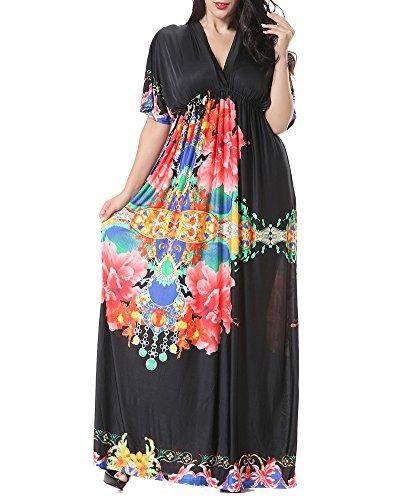 Maxi Robe Longue de Soirée d'été Imprimées Robe Femmes - Grande Taille Noir 7XL