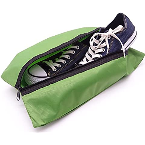 maveek portátil impermeable zapatos de viaje de nailon bolsillo Organizador de bolsas con cierre de cremallera para de alta calidad Amigos de Viaje (2unidades), verde