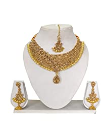Vipin Store Golden Color Stone & Kundan Gold Plated Jewelery Set