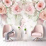 Yisj Fototapeten Wallpaper Fototapeten Rose Blumen Handgemalte Aquarell 3D Wandbilder Tapete Für Wohnzimmer Schlafzimmer Wandmalerei,250x175cm(WxH)