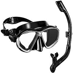 OMORC Masque de Plongée avec Tuba en Silicone de Qualité Alimentaire Sec Lentilles en Verre Anti-buée et Résistant aux Impacts Masque Snorkeling Ergonomiquee Noir